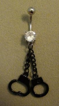 double black handcuff dangle belly ring  $7  FREE SHIPPING!