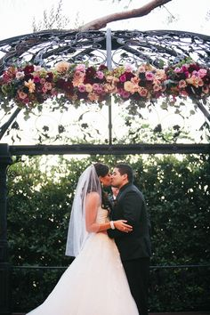 Southern California Wedding Outdoor Gazebo Ceremony First Kiss at Padua Hills Theatre