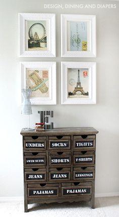 Calendar Wall Art and Chalkboard Dresser - fun combo! #home #decor