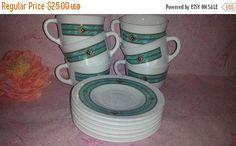 Vintage Aztec Cups and Saucers,6 Pc Service,Harmonia Cristiva,Milk Glass Tea Cups,Green Marbled Tea Set,Tribal Tea Set,Southwestern, Teal by JunkYardBlonde on Etsy