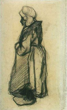 Vincent van Gogh: Woman with a Shawl, Nuenen: May-June, 1885 (Amsterdam, Van Gogh Museum)  F 1298v, JH 766