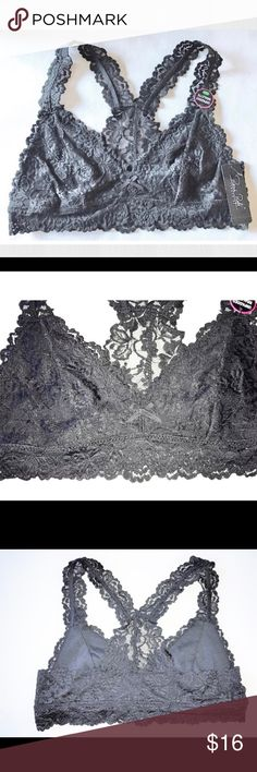 NEW Lace Unpadded Bralette NEW Rene Rofe Black Lace Unpadded Bralette SIZE Large Large will approximately fit Bra sizes 36-38 C-D Cup MSRP on tag is $28  Stretch lace bralette Tiny center bow Racerback Size Large Nylon/Spandex  Thank you so much! Rene Rofe Intimates & Sleepwear Bras