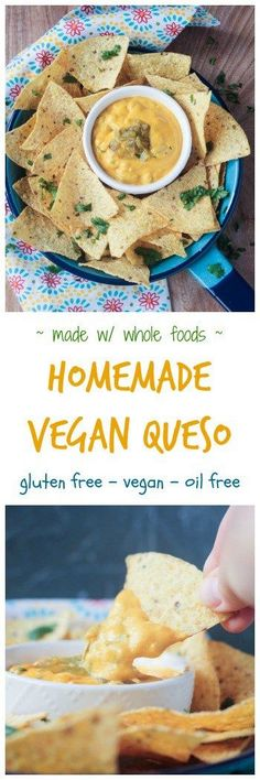 Homemade Vegan Queso - super creamy and cheesy, you won't believe this delicious dip is dairy free. Made from whole foods, you can feel good about chowing down as well. Oil free and gluten free too!
