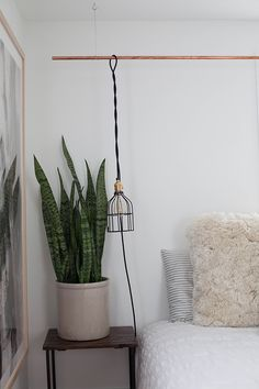 The perfect plant for the bedroom? The air-filtering, oxygen-producing Sansevier… Advertisements The perfect plant for the bedroom? The air-filtering, oxygen-producing Sansevieria – also known as the Snake Plant! Budget Bedroom, Home Bedroom, Bedroom Decor, Bedrooms, Bedroom Ideas, Plug In Pendant Light, Pendant Lamp, Plug In Hanging Light, Pendant Lights