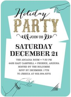 LESLEY'S CARD - Handy Hint - Flat Holiday Party Invitations - Baumbirdy - Reef - Blue : Front