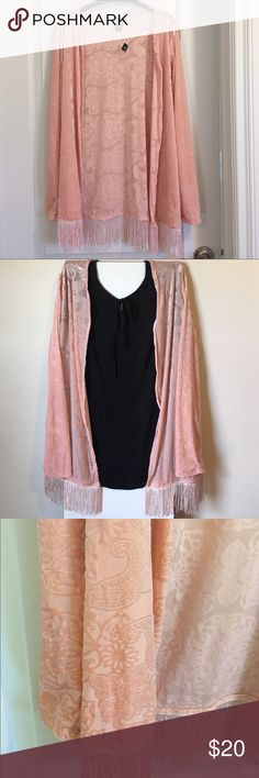 Trendy cardigan Brand new with tags. Light weight long sleeves with fringe detail bottom Sweaters Cardigans