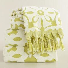 Green Sculpted Tile Soleil Bath Towel Collection