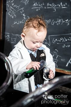 © Brian Potter Photography #1year #baby #portraits #oneyearold #madscientist #steampunk
