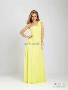 Custom Made 2012 New One Shoulder Floor Length Ruffled Yellow Chiffon Bridesmaid Gown Dresses