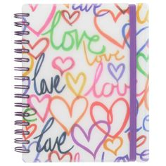 love hearts A6 ruled notebook