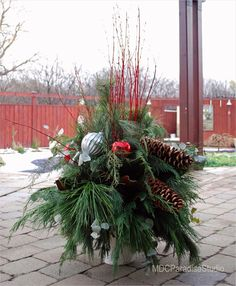 42 Beautiful Christmas Outdoor Pot Decorations Ideas 87 Paradise Floral Studio Decorating for the Holidays Outdoor Pots 6 Outdoor Christmas Decorations, Christmas Centerpieces, Christmas Diy, Christmas Wreaths, Holiday Decor, Outdoor Pots, Outdoor Gardens, Outdoor Ideas, Beautiful Christmas