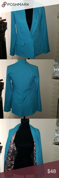 "Kardashian Turquoise Jacket Size XS Kardashian Turquoise Jacket Size XS  It can go with dress i listed in my closet or u can wear it with anything u like . Measurment is  Length from back neck to the bottom 27""  Sleeve length is 24""  Armpit to armpit is 17.5""  The jacket gas two pockets on side and one slit on the back . Kardashian Kollection Jackets & Coats"