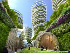 Anti-smog Towers from street level, Vincent Callebaut's 2050 Vision of Paris.
