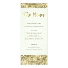 GLAMOROUS GOLD WHITE DOTS MOSAIC MENU CARD - wedding invitations cards custom invitation card design marriage party