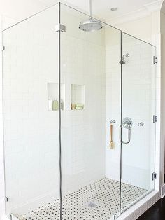 Frameless Shower Enclosure shower and tile Additionally, I like the side by side niches.