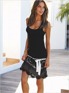 Crochet skirt, This would be very easy to make. Buy a long tank and crochet the skirt to sew to the bottom.