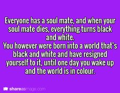 Could you imagine never even meeting your soul mate but one day everything loses color. Oh my gosh