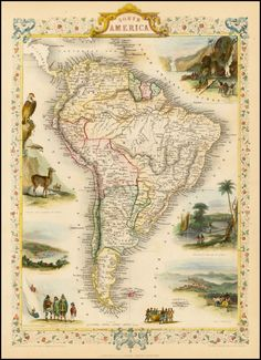 Reproduction of a Vintage Map of South America from Fantastic Photo Poster Print - Old Archive Cartography Vintage Maps, Antique Maps, Vintage Wall Art, Vintage Posters, Antique Prints, Brazil Argentina, South America Map, Celestial Map, Old Maps