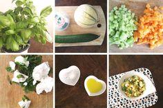 Salade d'été : Melon + Comcombre + Basilic + Chèvre frais & Gaspacho de Comcombre (comcombre + feuilles de menthe + yaourt grec)