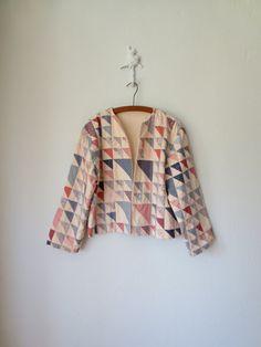 Quilted Jacket ... Vintage 80's Boho Folk Blazer ... Large