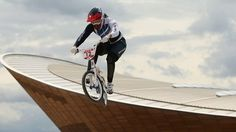 Shanaze Reade gets her London 2012 BMX campaign underway with the Velodrome, the venue of Team GB's track medal success, in the background Bmx Bandits, Team Gb, Olympic Champion, Skate Park, Vintage Racing, Olympians, Olympic Games, The Guardian, Britain