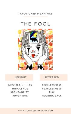 The Fool Tarot Card meanings in relationship to love, career, health, and spirituality. The upright and reversed fool card explained with a reading guide. Adventure Symbol, Tarot The Fool, Tarot Cards Major Arcana, Tarot Cards For Beginners, Rider Waite Tarot, Tarot Card Meanings, Tarot Spreads, Tarot Decks, Fresh Start