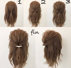 This hairstyle is easy and quick! Works best when you have a little curl on your hair, spray sea salt texturizing spray it to give you fullness and vo… - Coiffure Sites Pretty Hairstyles, Braided Hairstyles, Hairstyles For Short Hair Easy, Simple Hairdos, Easy Hairstyles For Medium Hair, Shoulder Length Hairstyles, Medium Length Hairstyles, Hairstyles For Medium Length Hair Easy, Loose Hairstyle