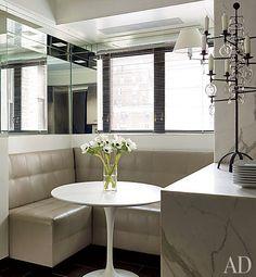 Diner style nook in NYC prewar apt.; David Kleinberg