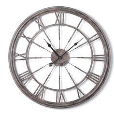 "Metal Cutout Wall Clock gray $59  21""x21""x1.25"" deep; Shades of Light"