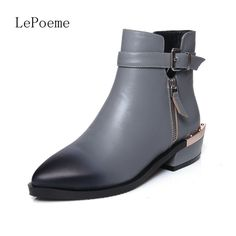 57.20$  Buy now - http://ali6fm.worldwells.pw/go.php?t=32754272432 - Thick With Buckle Woman Ankle boots 2016 Autumn And Winter Short Plush Fashion Pointed Toe Shoes Black Gray Full Grain Leather 57.20$