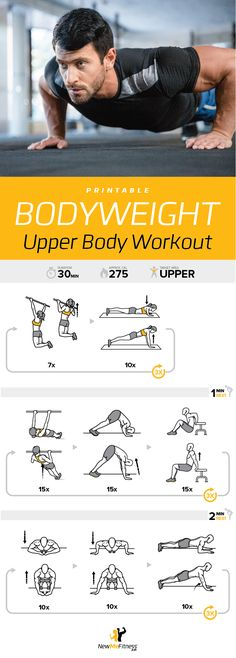 Great, Free, Printable bodyweight upper body workout. Awesome for travel or when you don't have time to go to the gym.