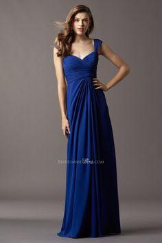 cap sleeve floor length long royal blue chiffon draped #bridesmaid #dress  $169.00