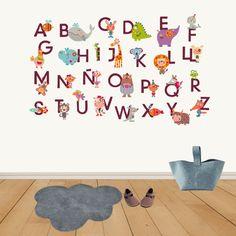 vinilo infantil abecedario http://www.decohappy.com/vinilosinfantiles/es/vinilos-infantiles-de-tela/270-vinilo-infantil-de-tela-abc-animales.html