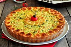 Peynirli  Tart  Tarifi Quiche, Salty Snacks, Turkish Recipes, Homemade Beauty Products, Trifle, Cute Food, Food To Make, Deserts, Food And Drink