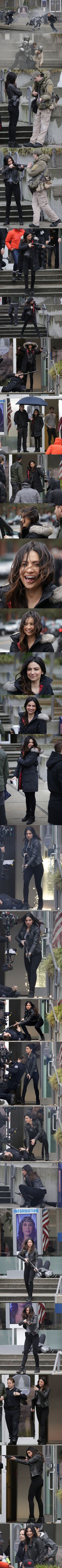 Floriana Lima (Maggie Sawyer) filming for Supergirl 2x21 in Vancouver