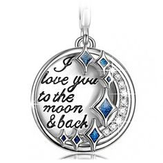 "Pandora ""I Love You to the Moon and Back"" Silver Charm with Cubic Zirconia Dangle Charm ""Best Love Gifts"""