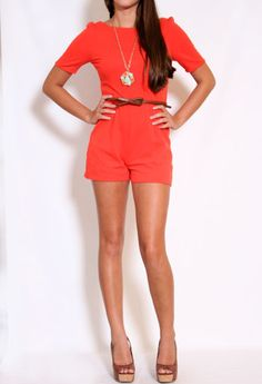 Short Sleeve Romper with Belt More Colors Available