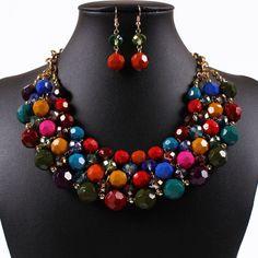 African Beads Jewelry Set African Jewelry Set For Women Nigerian Wedding Beads Necklace Earrings Set Indian Jewelry CJ0188