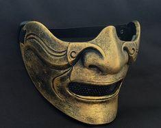 Custom Airsoft Mask & Paintball Helmet by on Etsy Hannya Samurai, Samurai Armor, Paintball, Pistola Airsoft, Mascara Oni, Samourai Tattoo, Phantom Mask, Hanya Tattoo, Masque Halloween