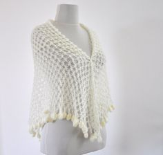 Ivory Crochet Shawl Scarf Soft Mohair Triangle by reflectionsbyds