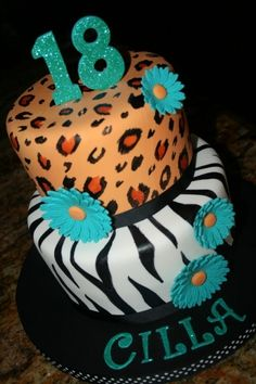 animal prints cake By ladyfon on CakeCentral.com