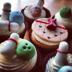 Bowling cupcakes for the birthday boy.. vanilla butter cream and filled wih strawberry jam (added surprise)