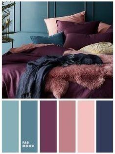 Mauve Bedroom, Peach Bedroom, Navy Blue Bedrooms, Mauve Walls, Bedroom Colour Palette, Bedroom Color Schemes, Colour Schemes, Apartment Color Schemes, Color Palettes