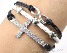 Infinity & Cross Charm BraceletAntique Silver by happygarden999, $6.59