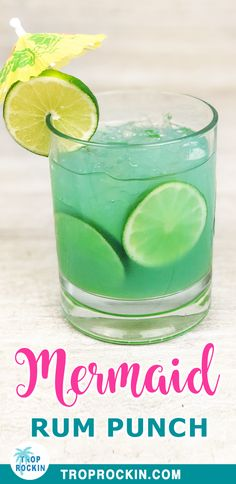 This Mermaid Rum Punch recipe is a fun Summer Cocktail! Easy to make - just mix 3 liquors and pineapple juice together for this tasty and colorful summer drink. Summer Mixed Drinks, Easy Mixed Drinks, Easy Rum Cocktails, Fun Summer Drinks Alcohol, Refreshing Summer Cocktails, Alcoholic Drinks Rum, Mixed Drinks Alcohol, Bartender Drinks, Beverages