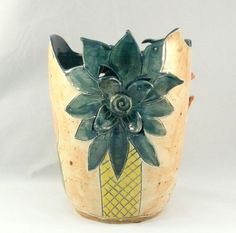 Desert Cactus Cut out Vase Art Vessel by BlueSkyPotteryCO on Etsy