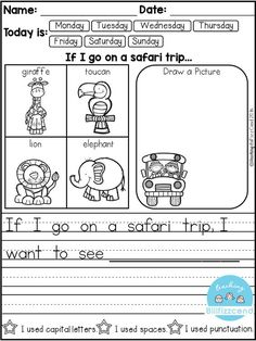 FREE 10 Kindergarten Writing Prompts with 2 option (A total of Pages). With sentence starters and without sentence starters for advance writers. This pack is great for beginning writers or struggling writers in kindergarten and in first grade to bu Kindergarten Writing Prompts, Daily Writing Prompts, 1st Grade Writing, Kindergarten Literacy, Writing Workshop, Teaching Writing, Writing Activities, Writing Process, Writing Journals