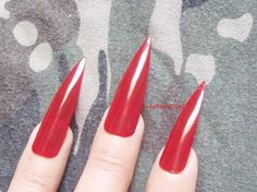 red medium long stiletto nails costume vampire wag rock drag queen false nail gothic uñas quirky cosplay men pointy horror lasoffittadiste