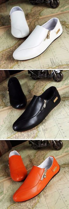 Men Side Zipper British Style Flat Slip On Casual Doug Shoes