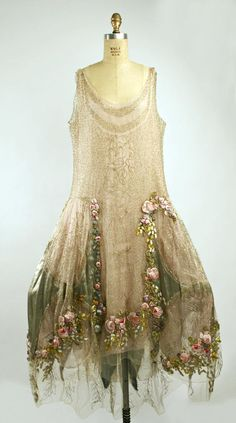 ethereal, french, roses, enbellished, nude, beige, champagne, lace Court Presentation Ensemble - Boué Soeurs, The Metropolitan Museum of Art